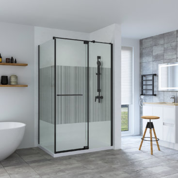 SS26 PREMIUM BLACK RANGE SHOWER SCREEN