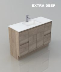 1200 WALL HUNG BATHROOM EXTRA DEEP TIMBER LOOK DESIGN VANITY
