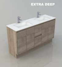 1500 DOUBLE WALL HUNG BATHROOM EXTRA DEEP TIMBER LOOK DESIGN VANITY