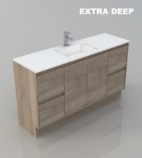 1500 SINGLE WALL HUNG BATHROOM EXTRA DEEP TIMBER LOOK DESIGN VANITY