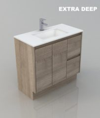900 WALL HUNG BATHROOM EXTRA DEEP TIMBER LOOK DESIGN VANITY