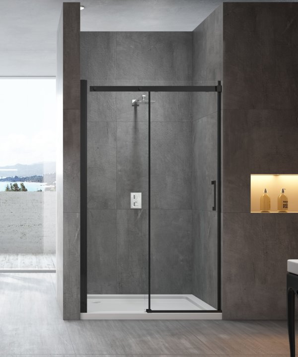 melbourne bathroom sliding shower screen ss20blk front only